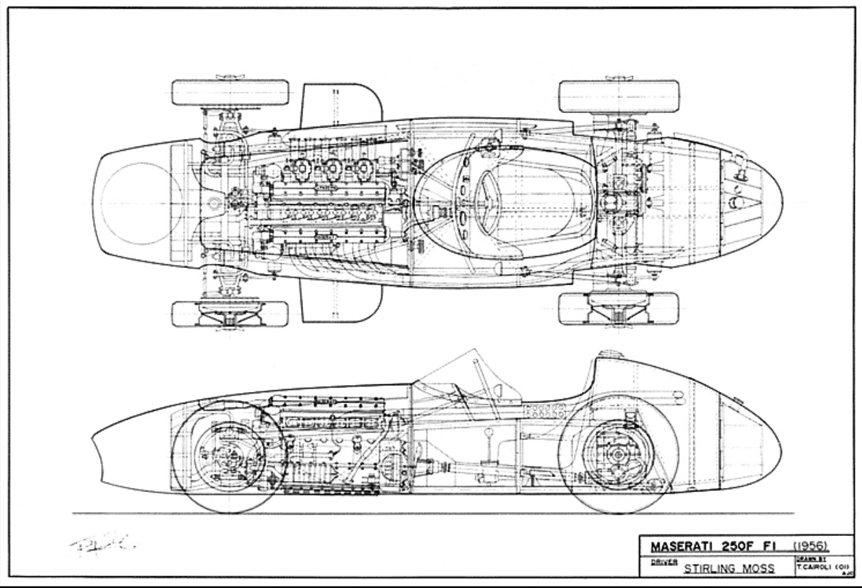 Stirling Moss Monaco Gp 1956 Maserati 250f furthermore 2002 Aston Martin Vanquish Wiring Diagram additionally Flathead drawings engines together with 37 TRANS Drop besides 4r70w Schematic For Hydraulic. on porsche drawings diagrams
