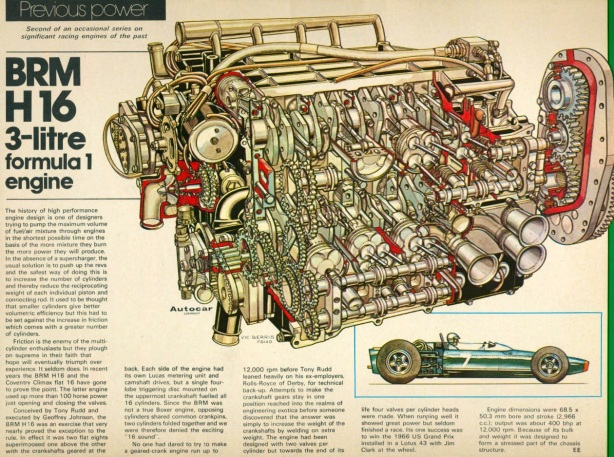 Brm H Engine Article on Brm H16 Engine