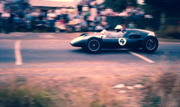 Jack Brabham Cooper T51 Climax on the approach to Pub Corner Longford 1960
