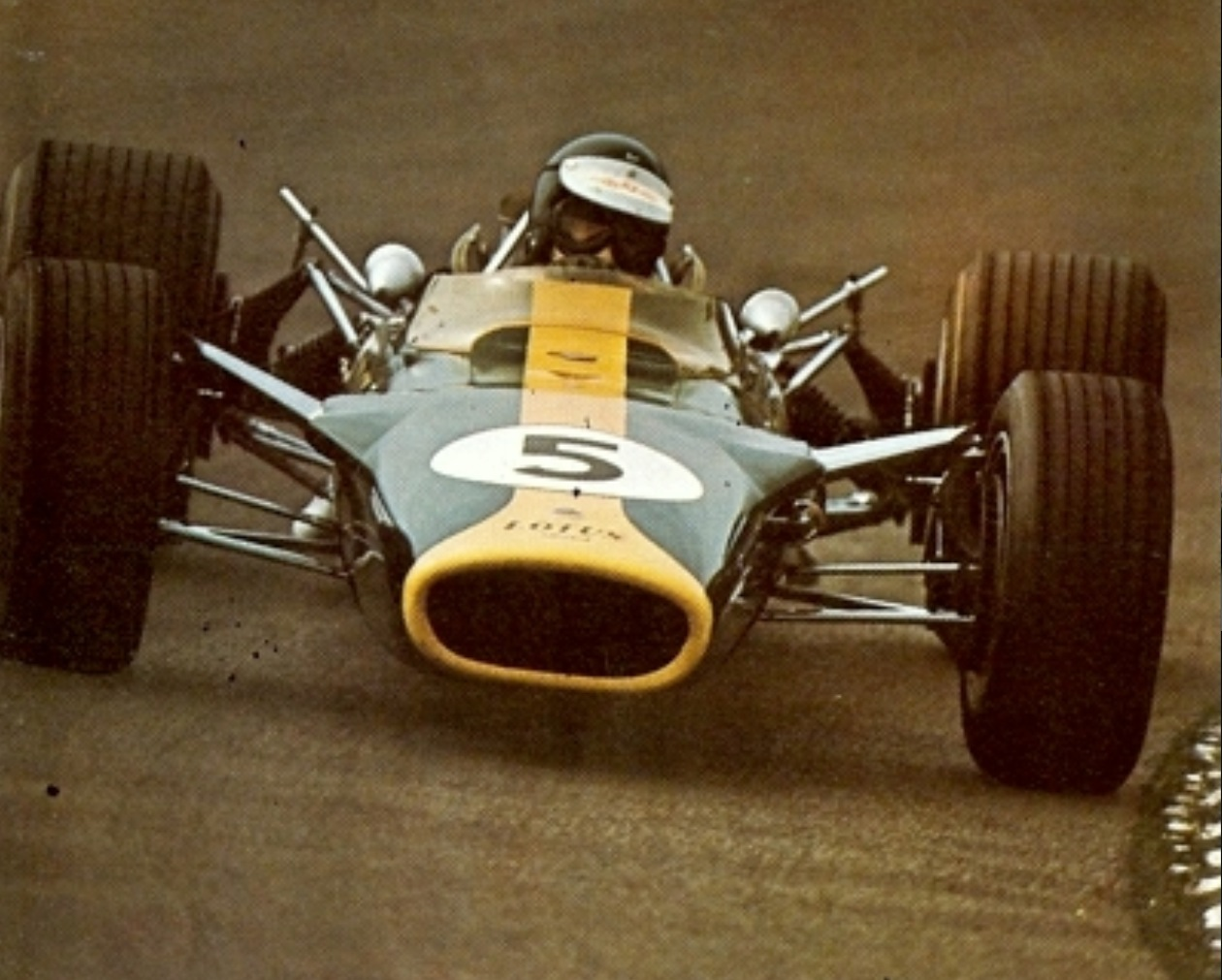 Front shot of the Lotus 49 Ford at Zandvoort 1967. Clark up. Hill won ...