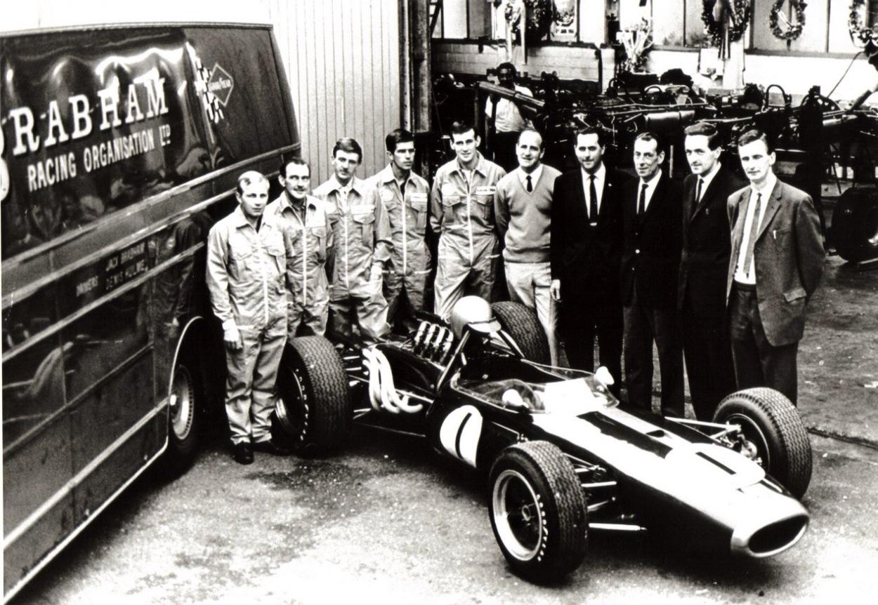 Brabham team with BT19 1966