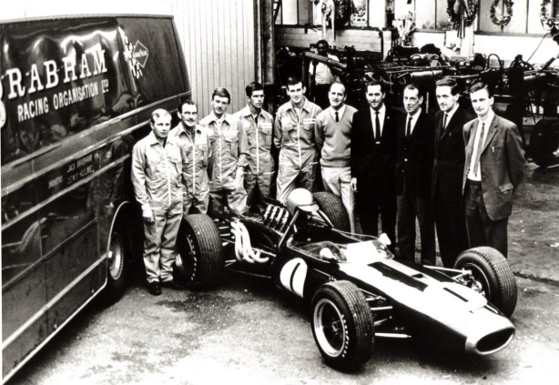 Brabham team with BT19 1966