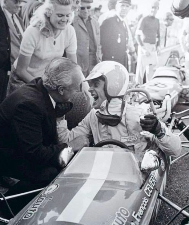 Cevert F3 victory celebration with parents, Tecno 68 Ford , 1968
