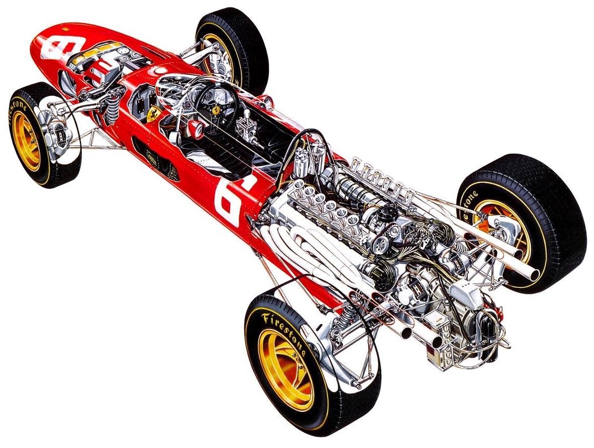1966 HONDA F-1 GP Ferrari 312 1966 cutaway