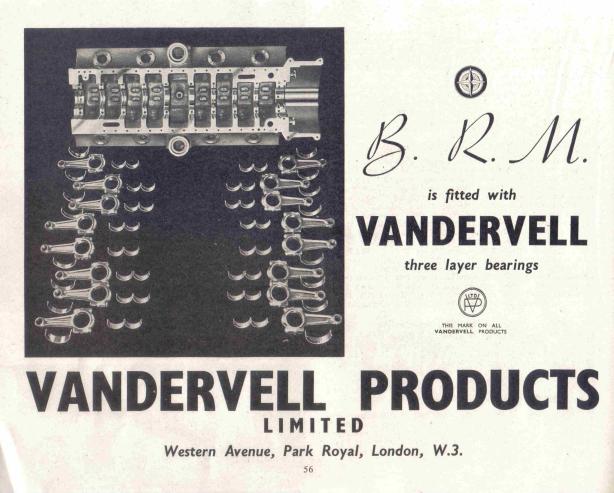 BRM V16 Vandervell ad