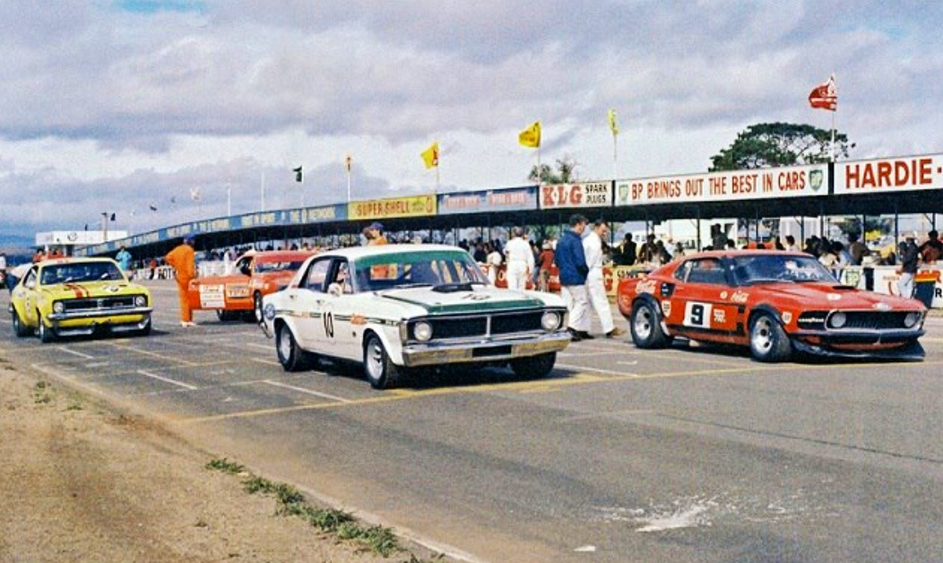 Ford mustang trans am primotipo front 2 rows of the grid before this great bathurst 72 atcc race moffat on pole mustang transam from geoghegan ford falcon gtho then janes partially sciox Gallery