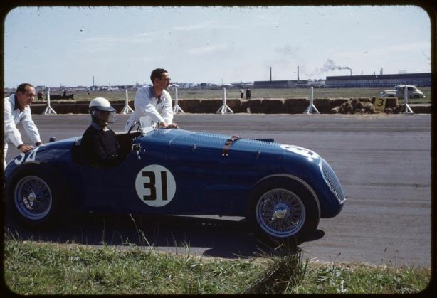 blue car at f bend